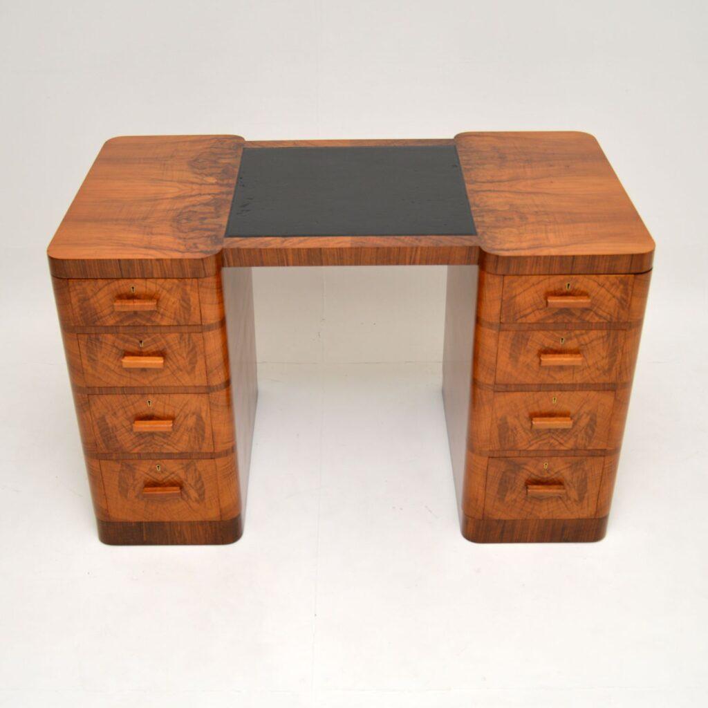 art deco figured walnut pedestal partners desk by maple and co
