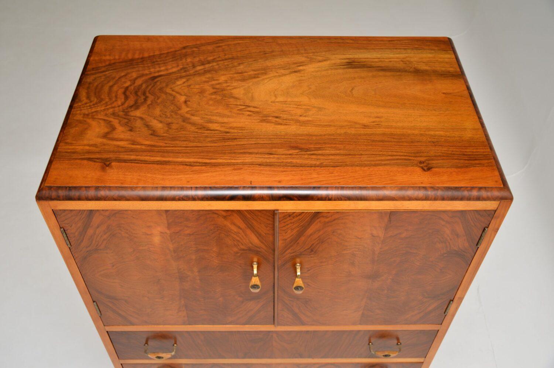 art deco figured walnut cabinet on chest
