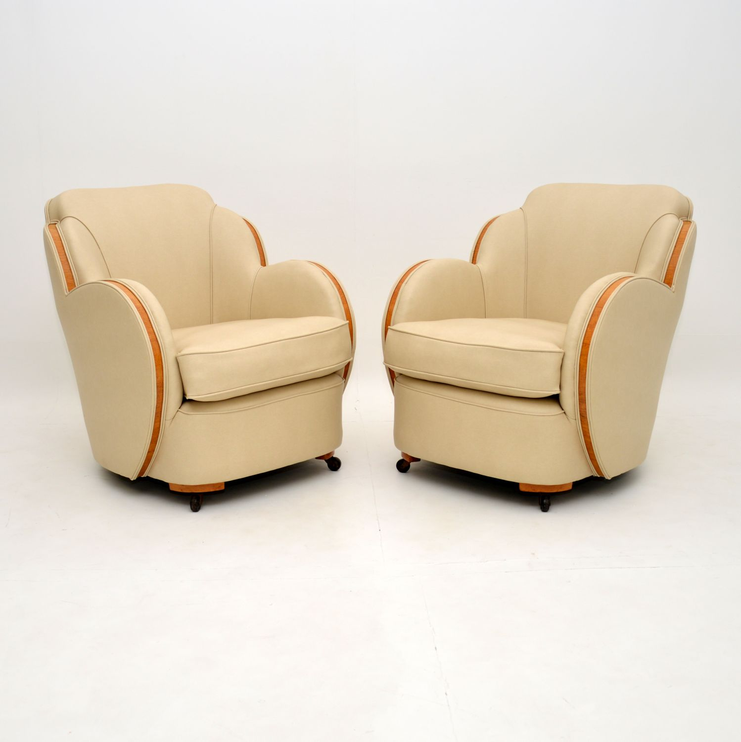pair of art deco cloud back armchairs by epstein