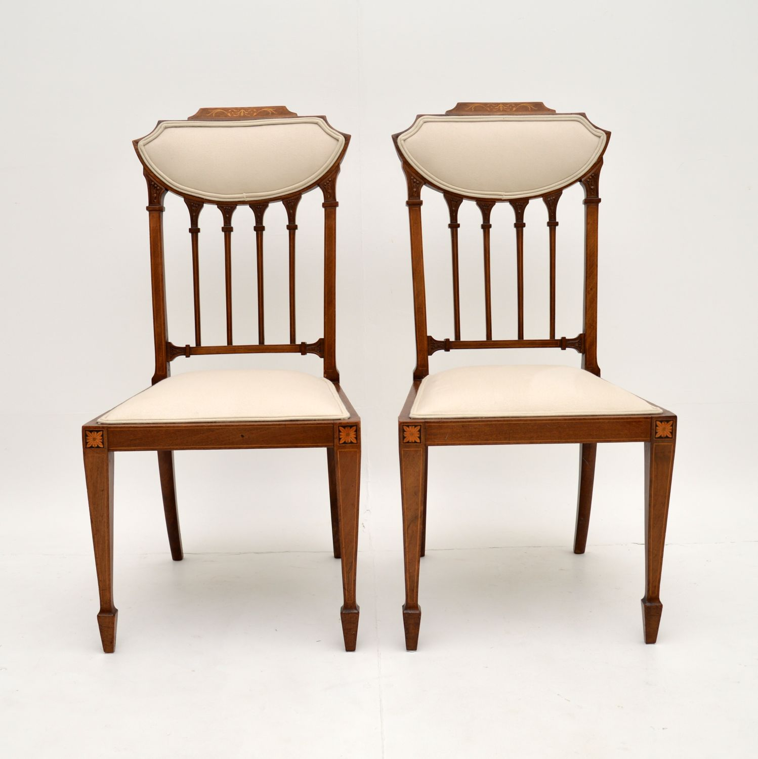 pair of antique edwardian inlaid mahogany side chairs