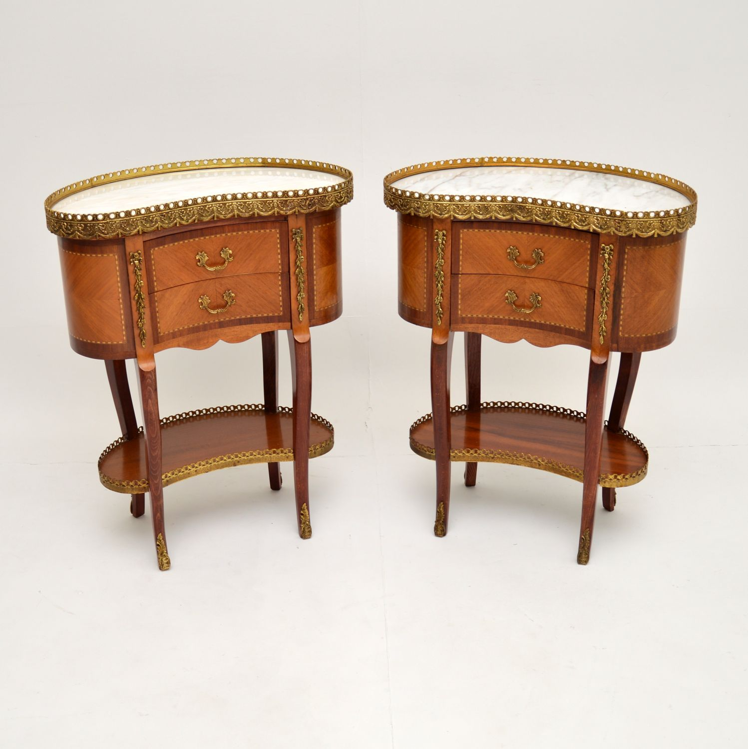 pair of antique french marble top kidney side tables bedside cabinets chests