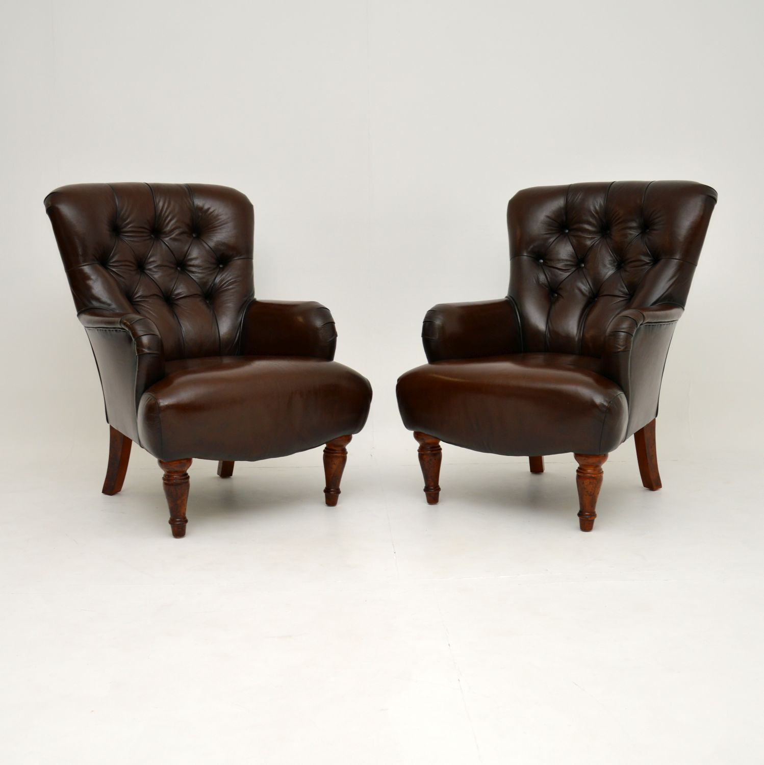 pair of antique vintage victorian leather armchairs