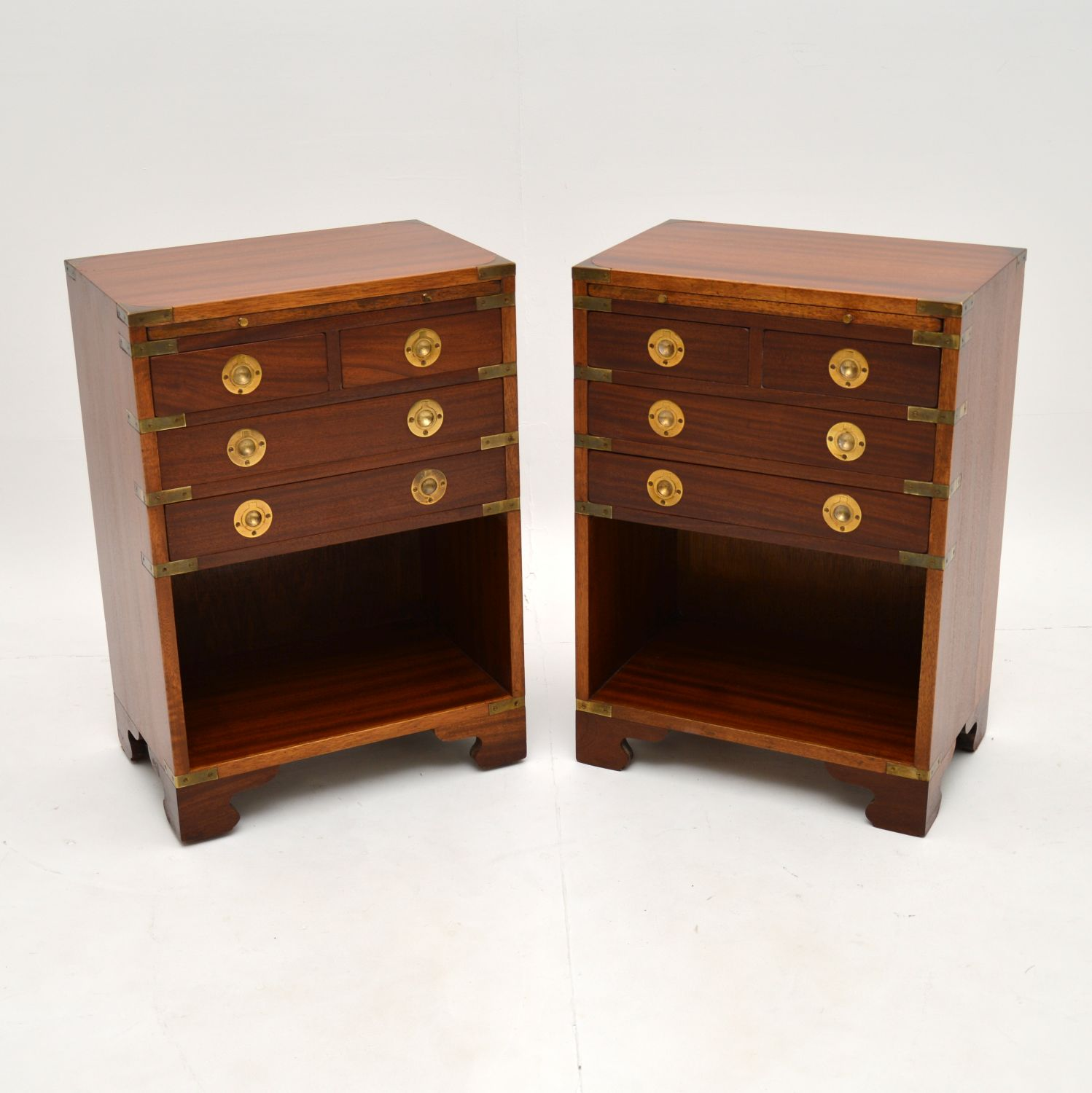 pair of antique mahogany military campaign bedside cabinets