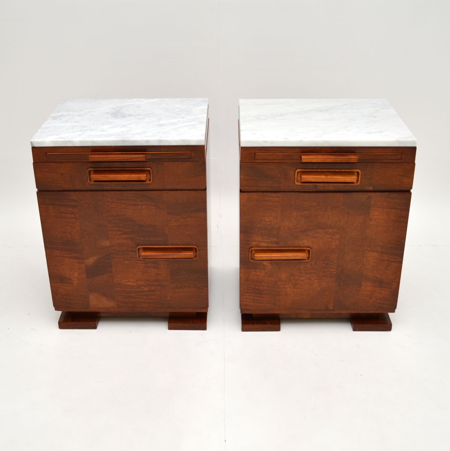 pair of art deco swedish satin birch marble top bedside side cabinets