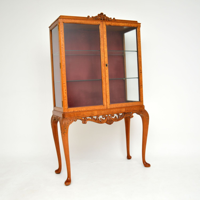 antique queen anne burr walnut display cabinet