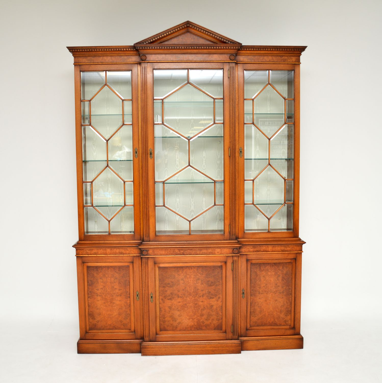 antique burr walnut breakfront bookcase display cabinet
