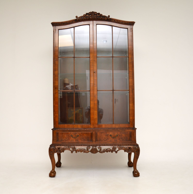 antique burr walnut queen anne display cabinet
