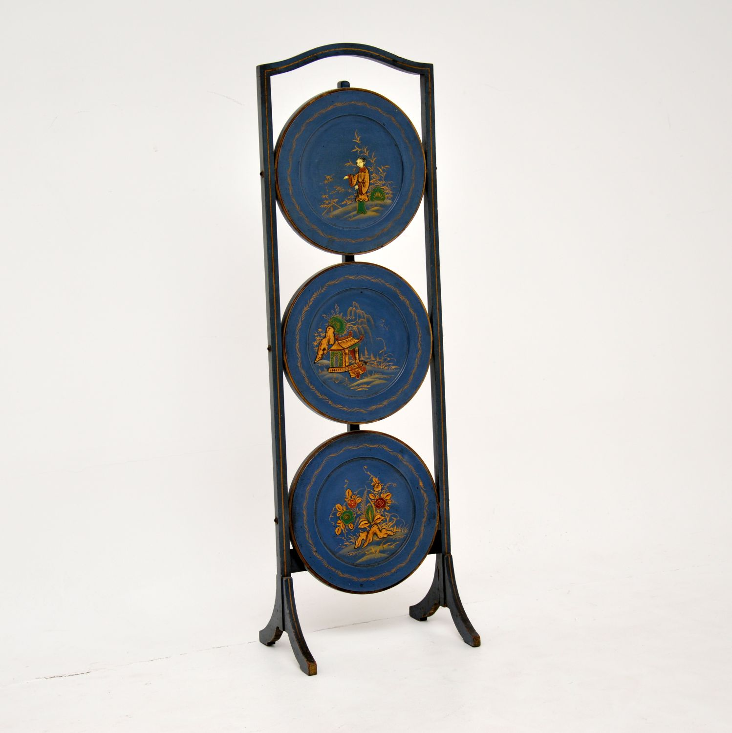 antique chinese edwardian lacquered chinoiserie cake stand