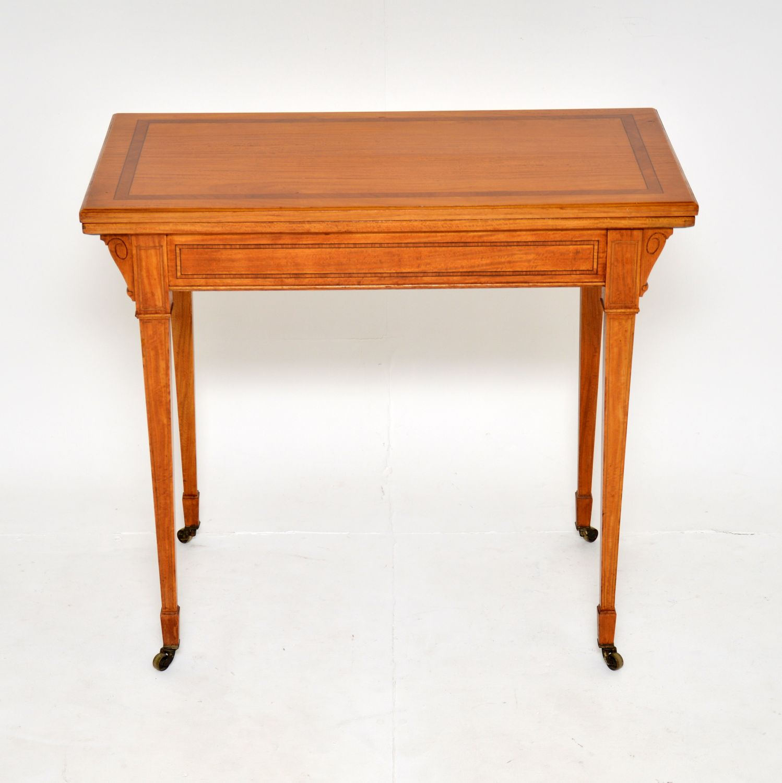 antique edwardian inlaid satin wood card table