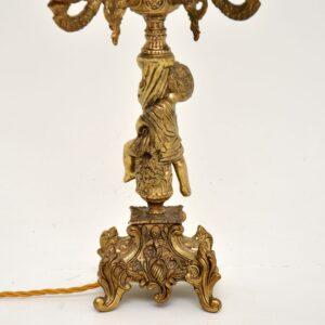 antique vintage french gilt metal brass candelabra cherub table lamp