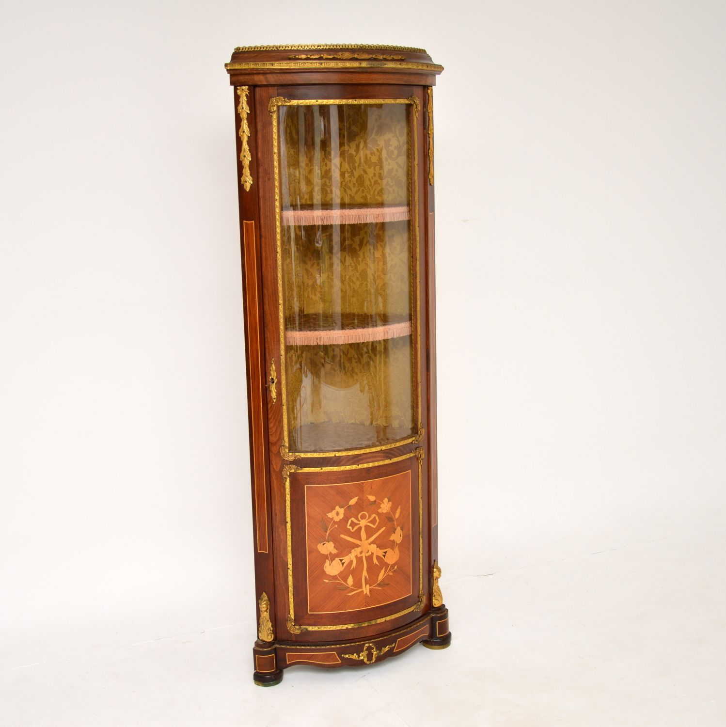 antique french inlaid marquetry corner cabinet