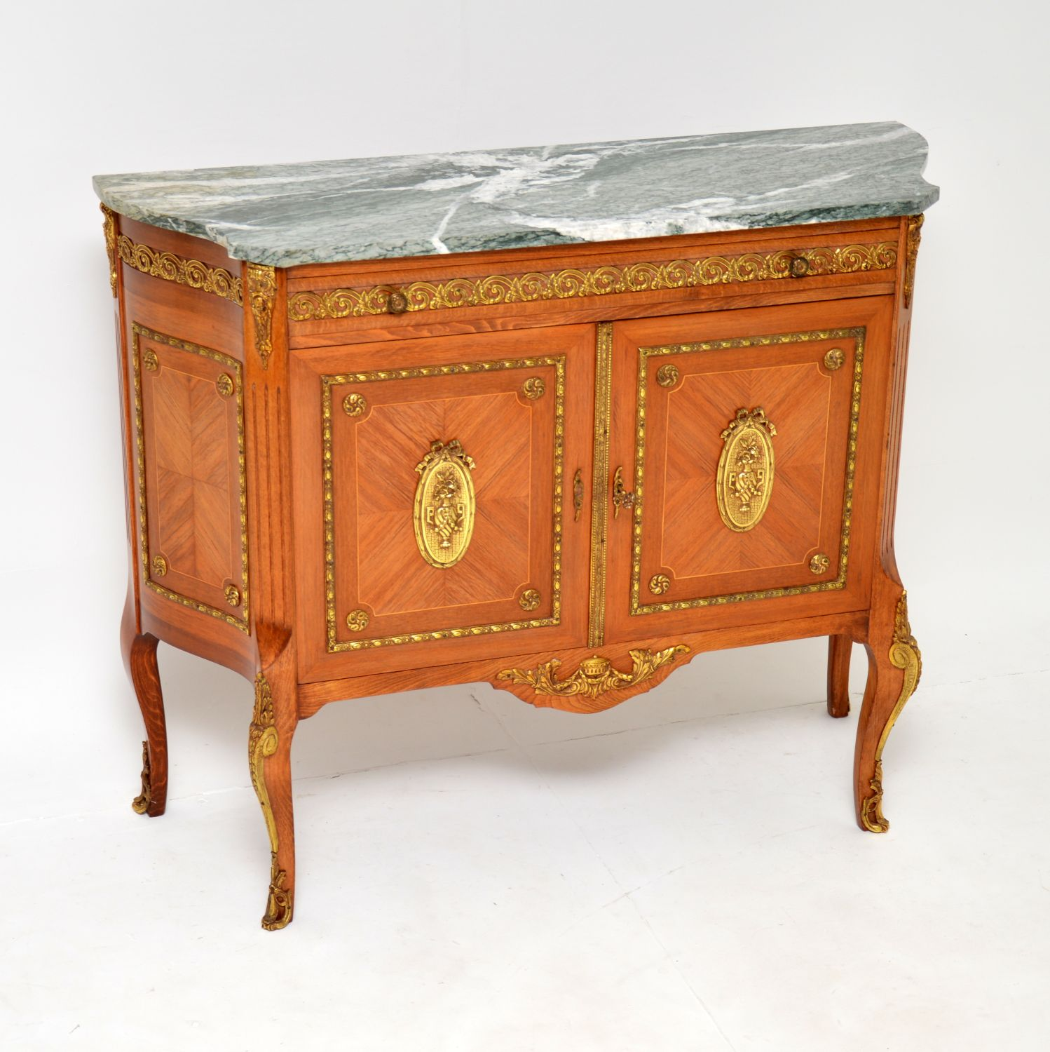 antique marble top ormolu mounted french cabinet