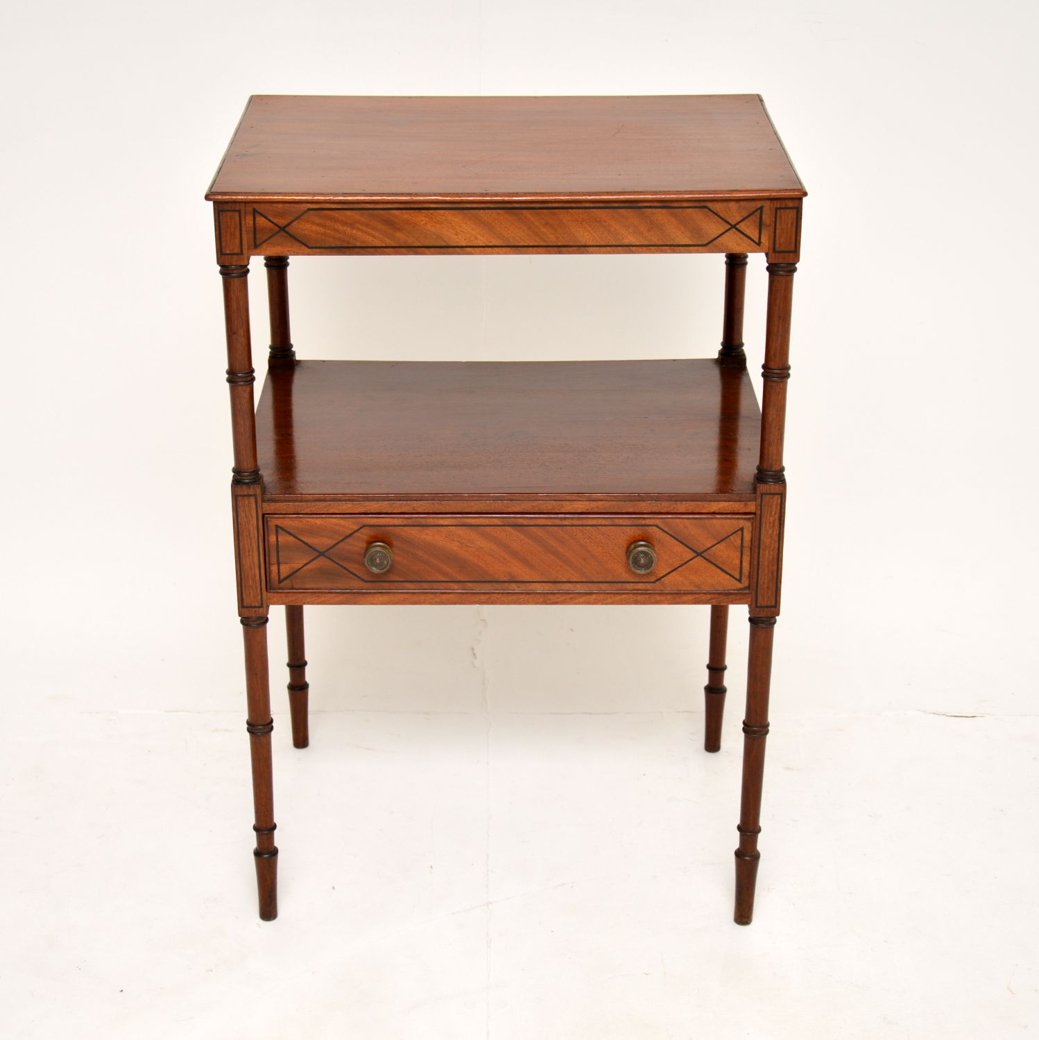 antique georgian mahogany two tier side table