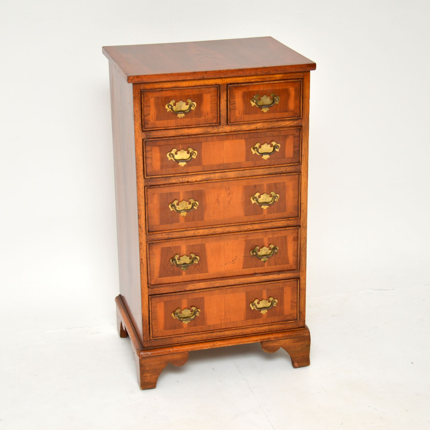 antique yew wood georgian chest of drawers