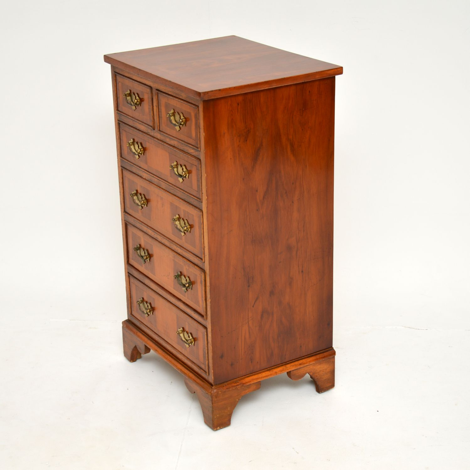 antique georgian yew wood chest of drawers