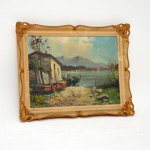 antique italian impressionist oil painting tardini