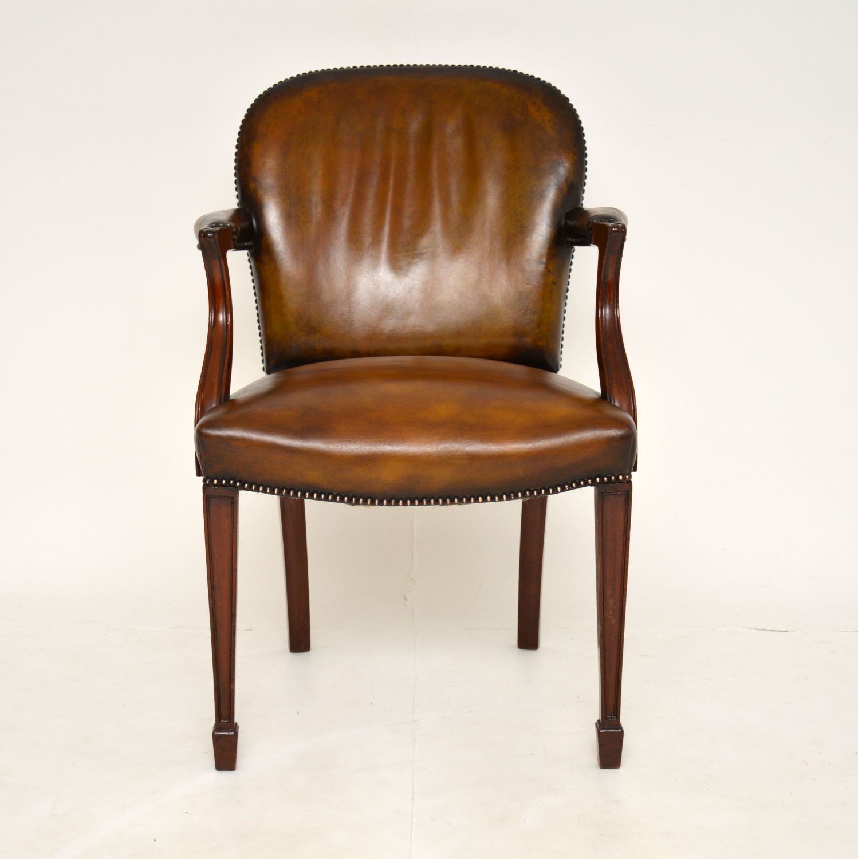 antique vintage leather mahogany desk chair armchair