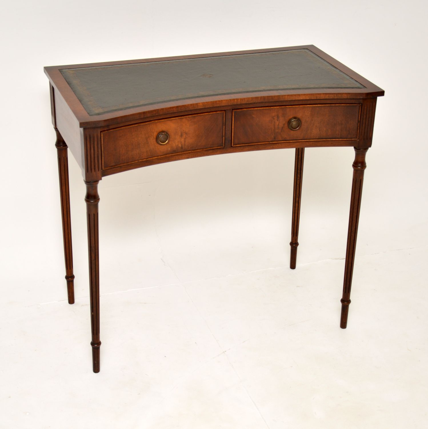 antique mahogany concave leather top writing table desk