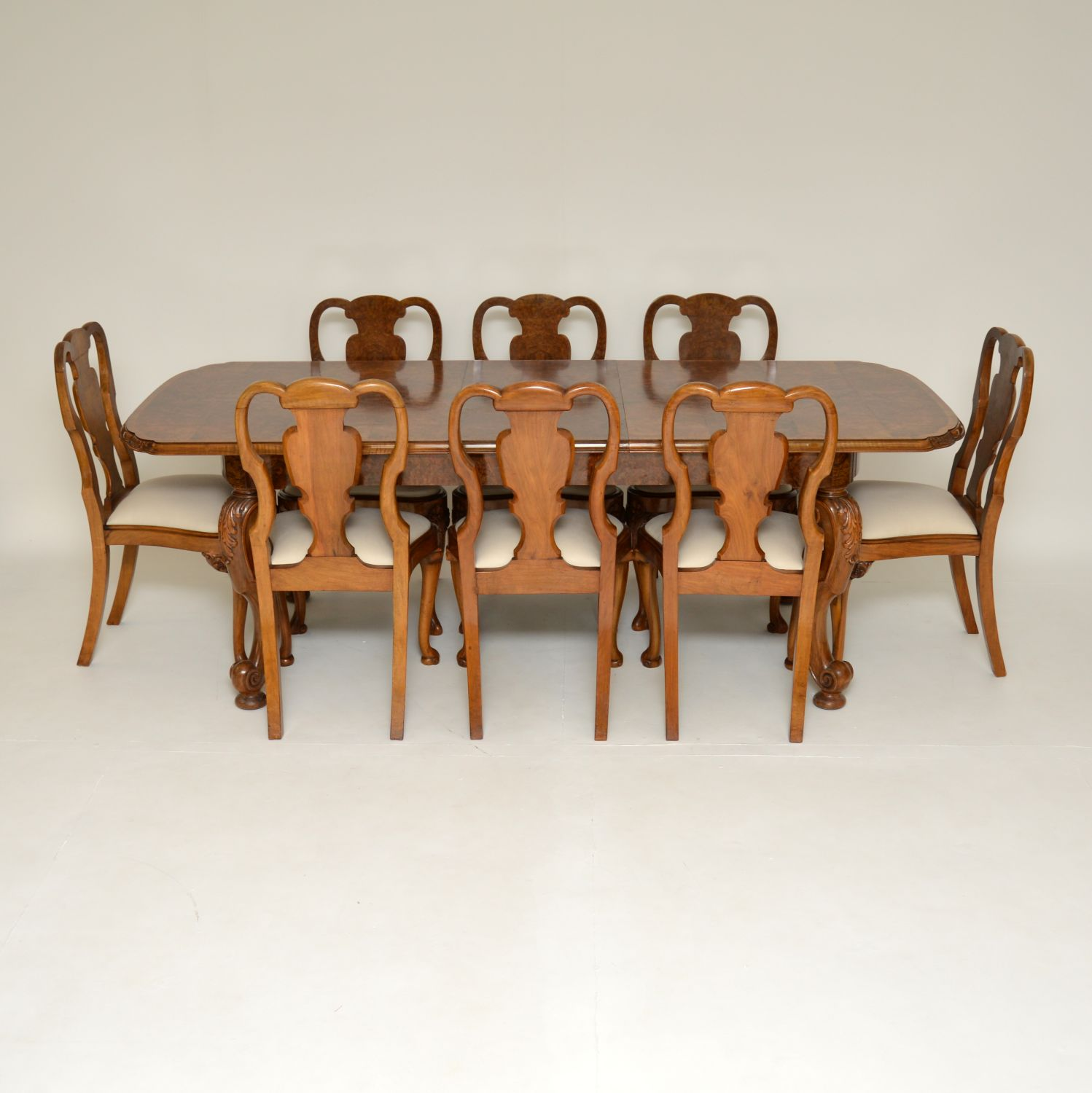 antique queen anne burr walnut dining suite table chairs