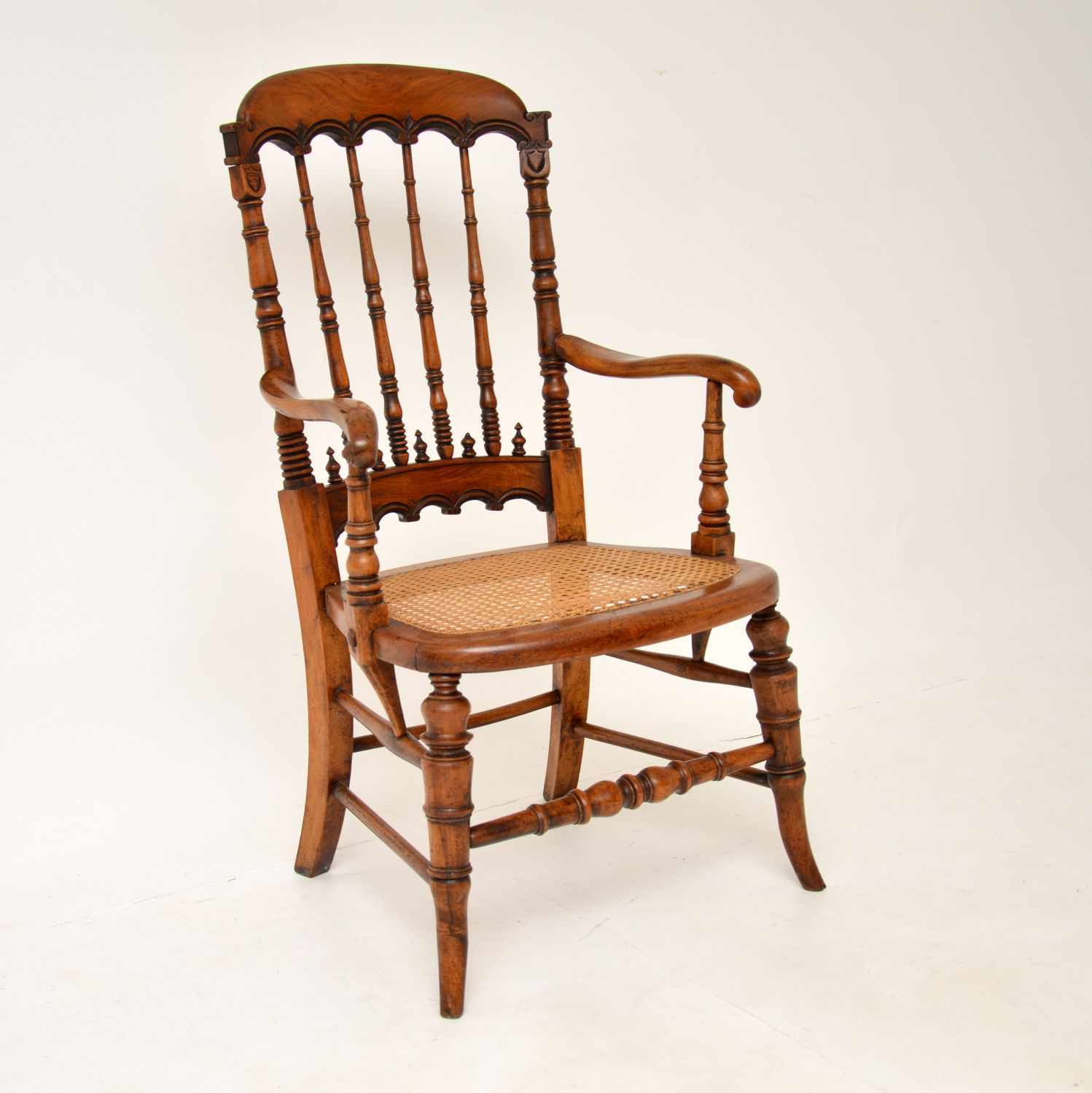 antique victorian mahogany caned armchairs