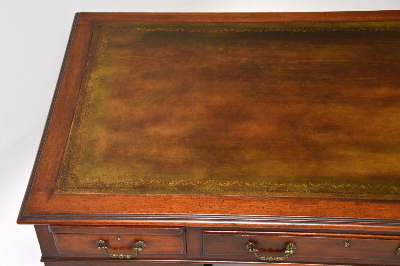 antique georgian mahogany leather top pedestal desk