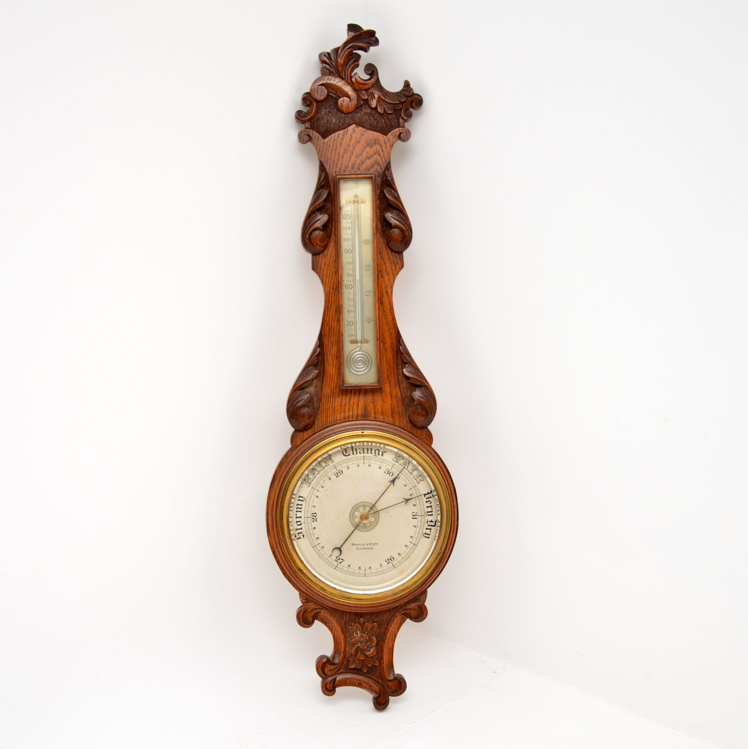 antique victorian oak aneroid barometer maple and co