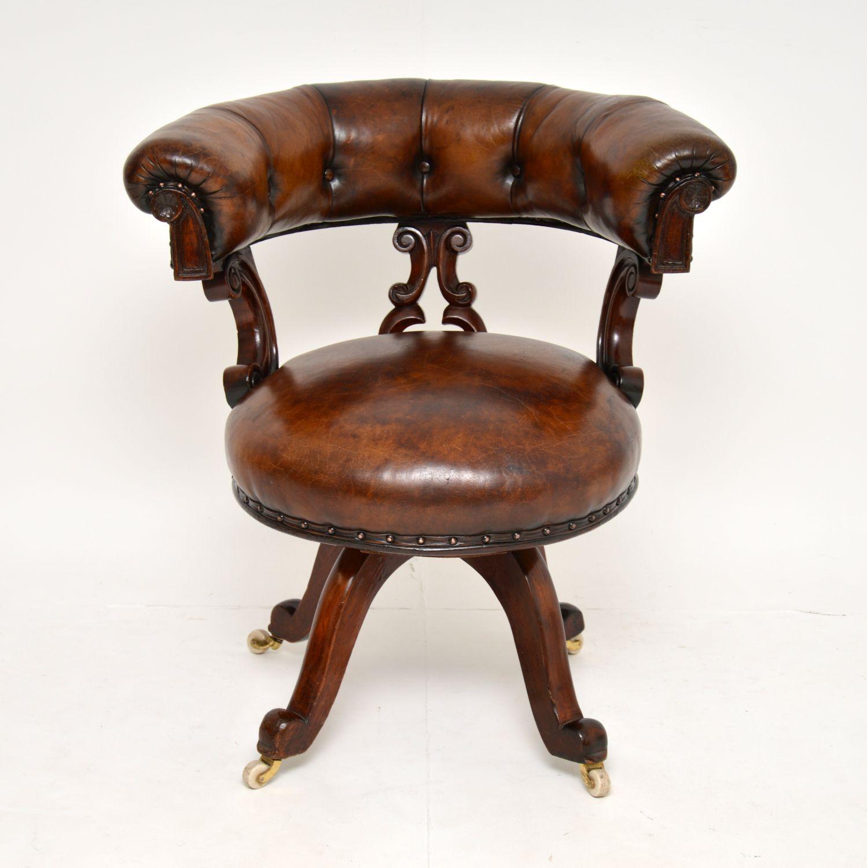 antique victorian william IV mahogany leather swivel desk chair