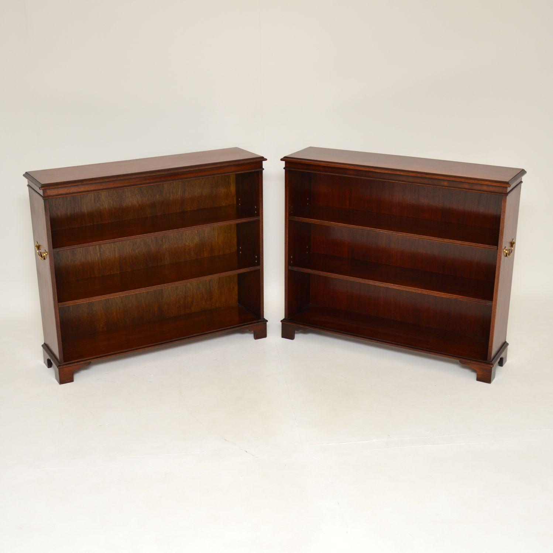 pair of antoque mahogany military campaign open bookcase bookcases