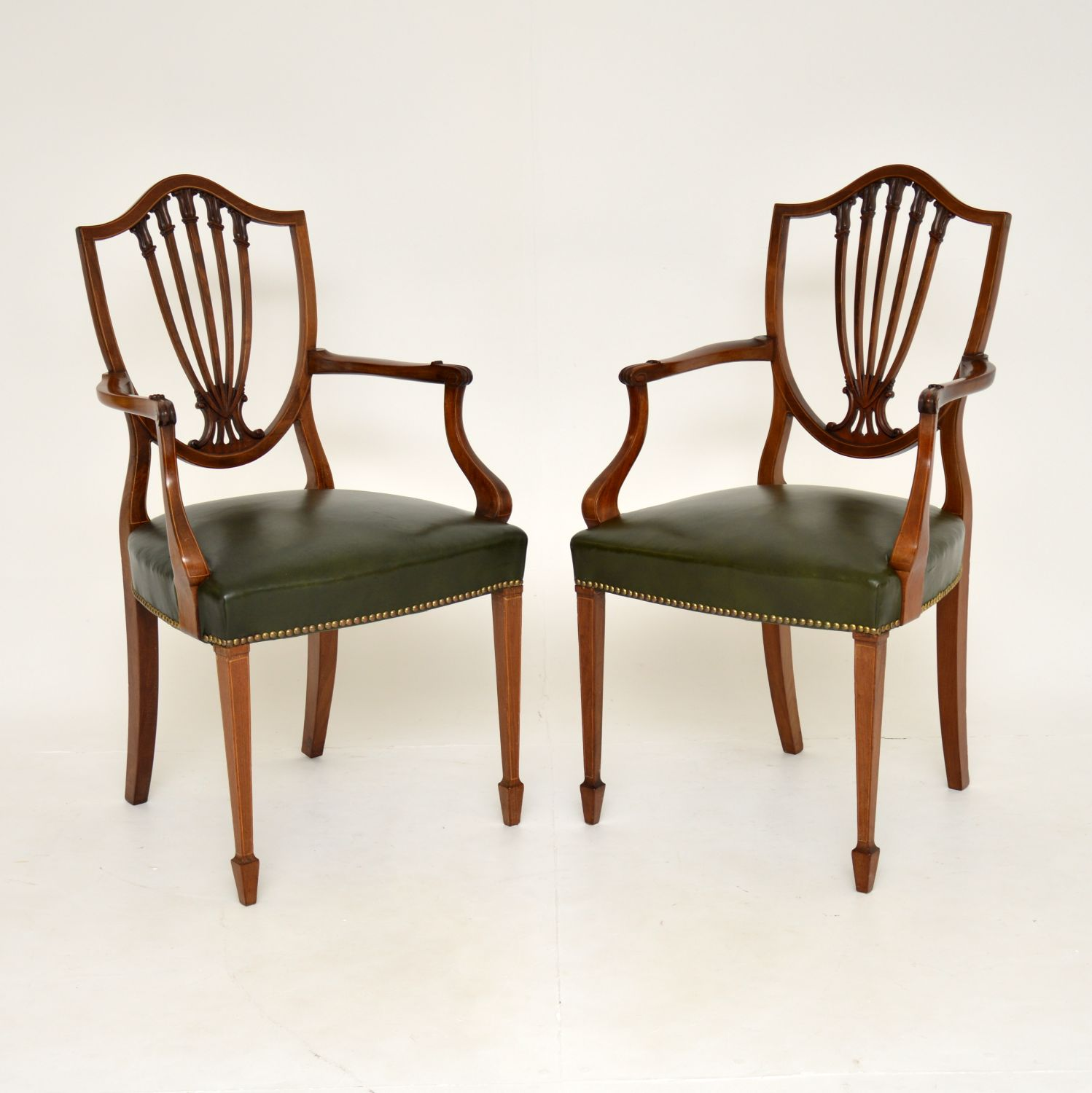 pair of antique mahogany shield back carver chairs armchairs