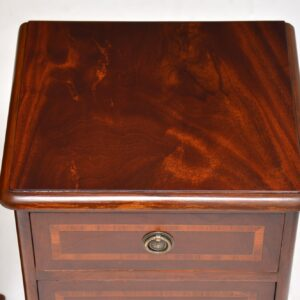 pair of antique inlaid mahogany victorian bedside cabinets