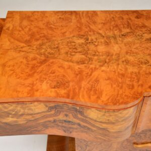 art deco burr walnut console table by hille