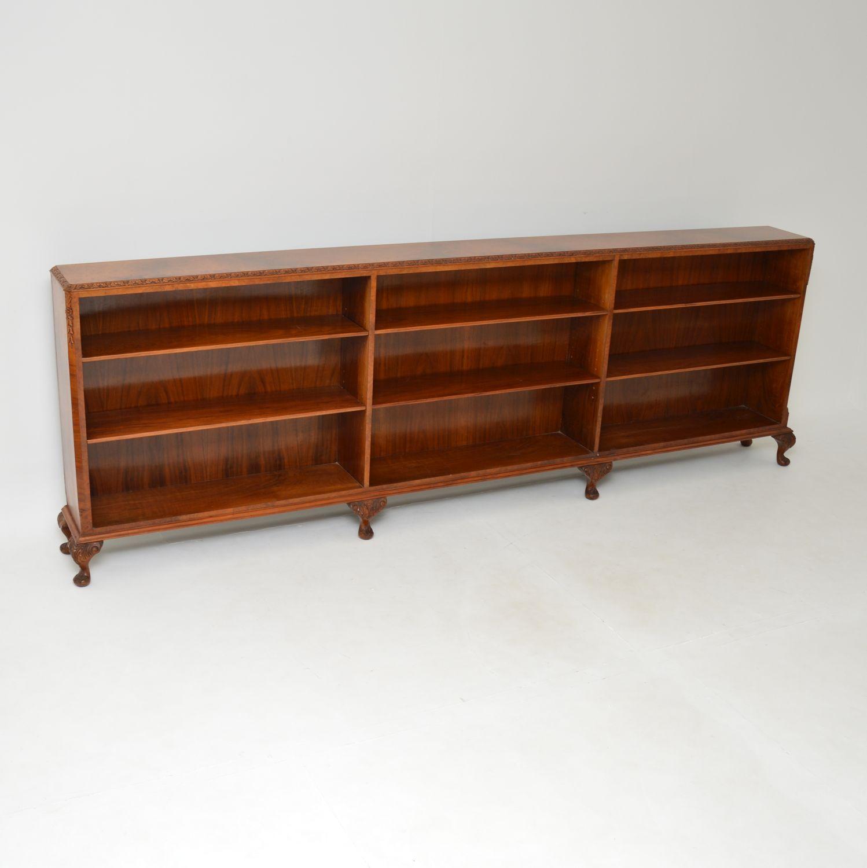 antique burr walnut queen anne open bookcase