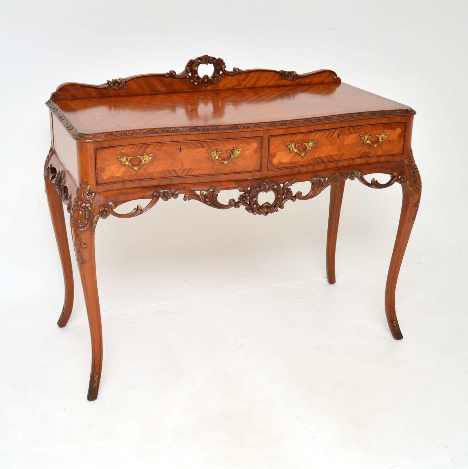 antique french inlaid carved king wood server console