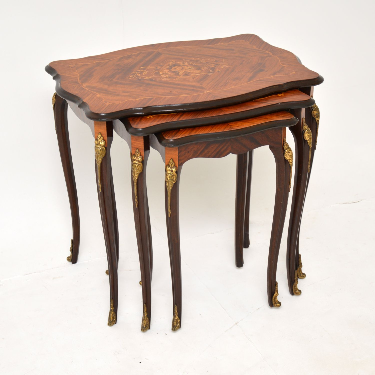 antique french inlaid rosewood marquetry nest of tables