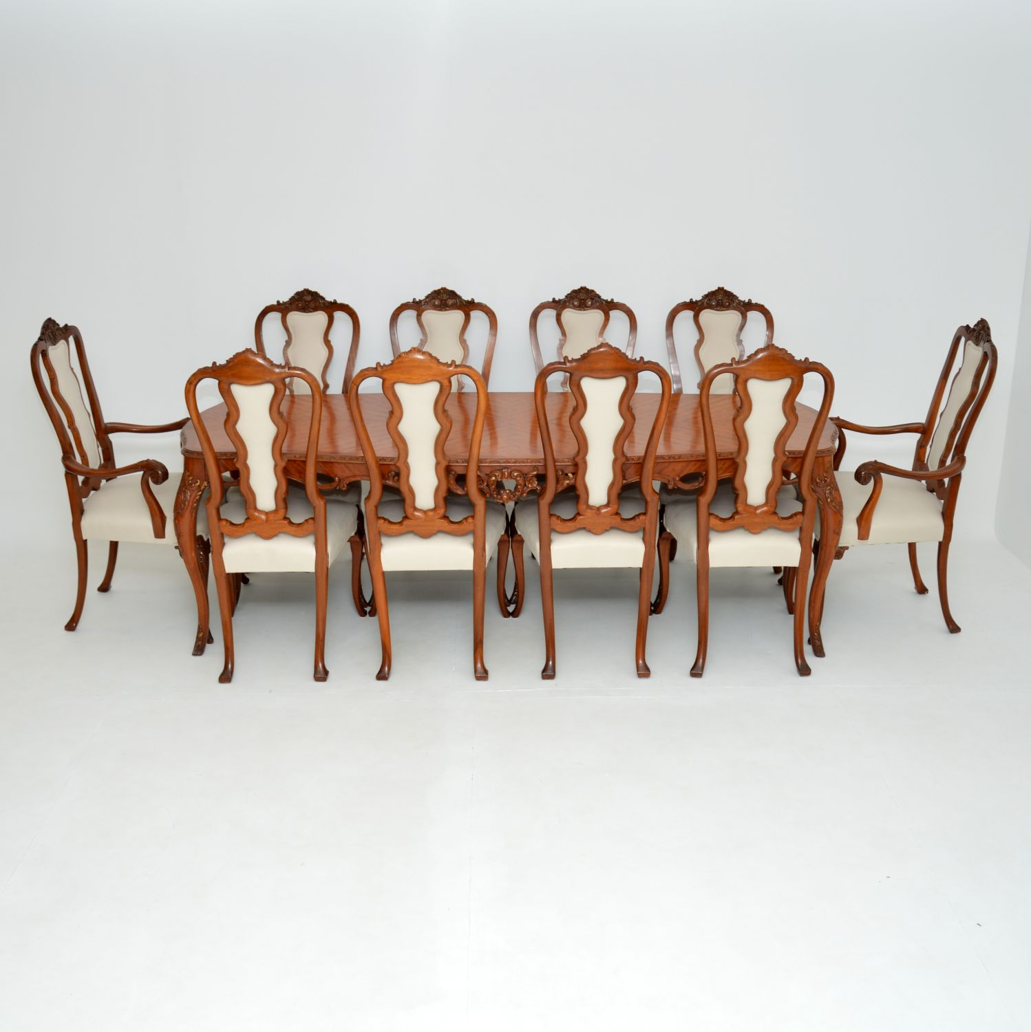 antique queen anne french king wood dining table ten chairs