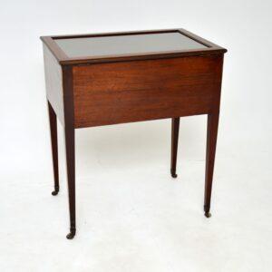 antique georgian george III inlaid mahogany display case table
