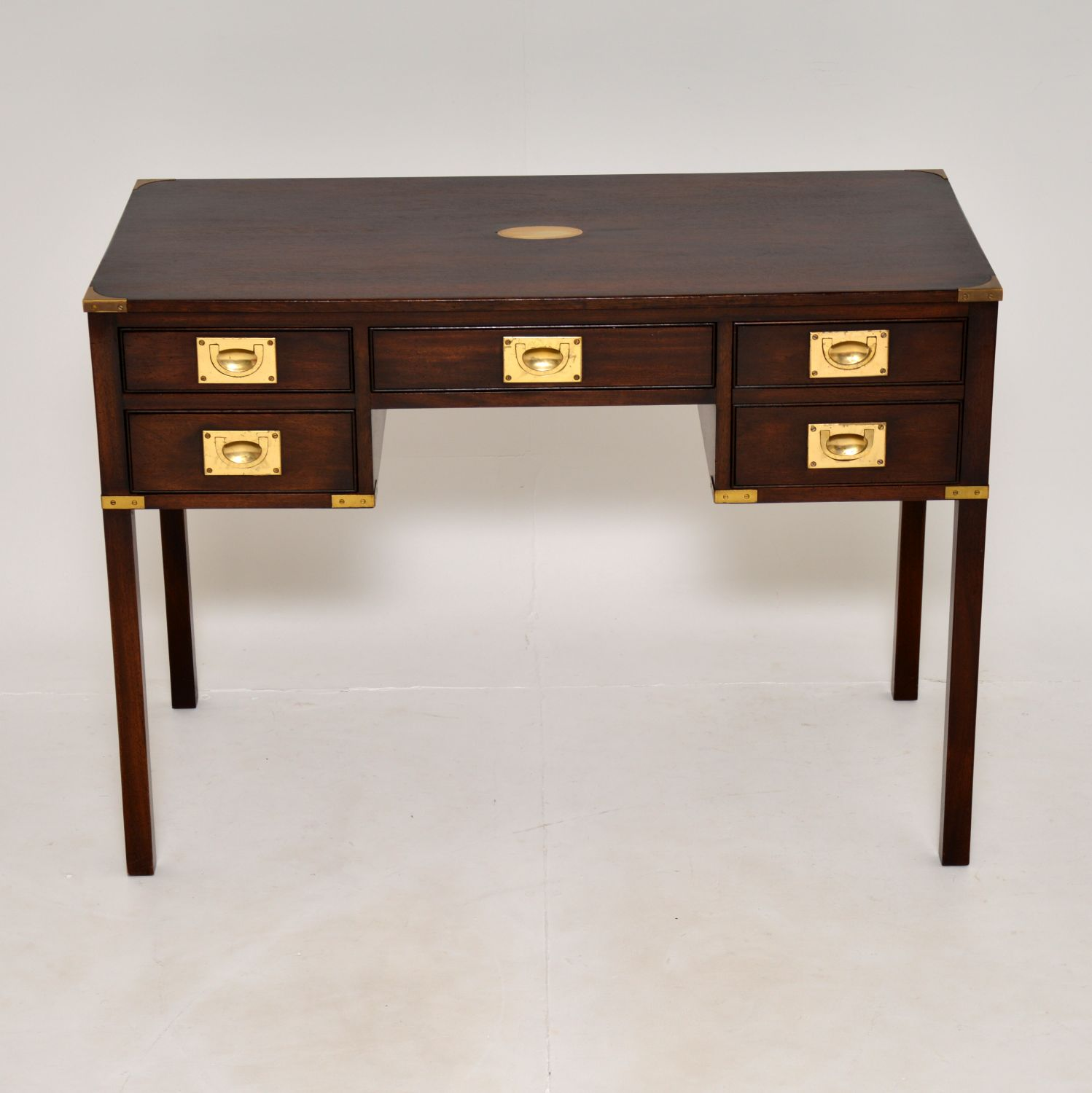antique military campaign mahogany brass desk writing table