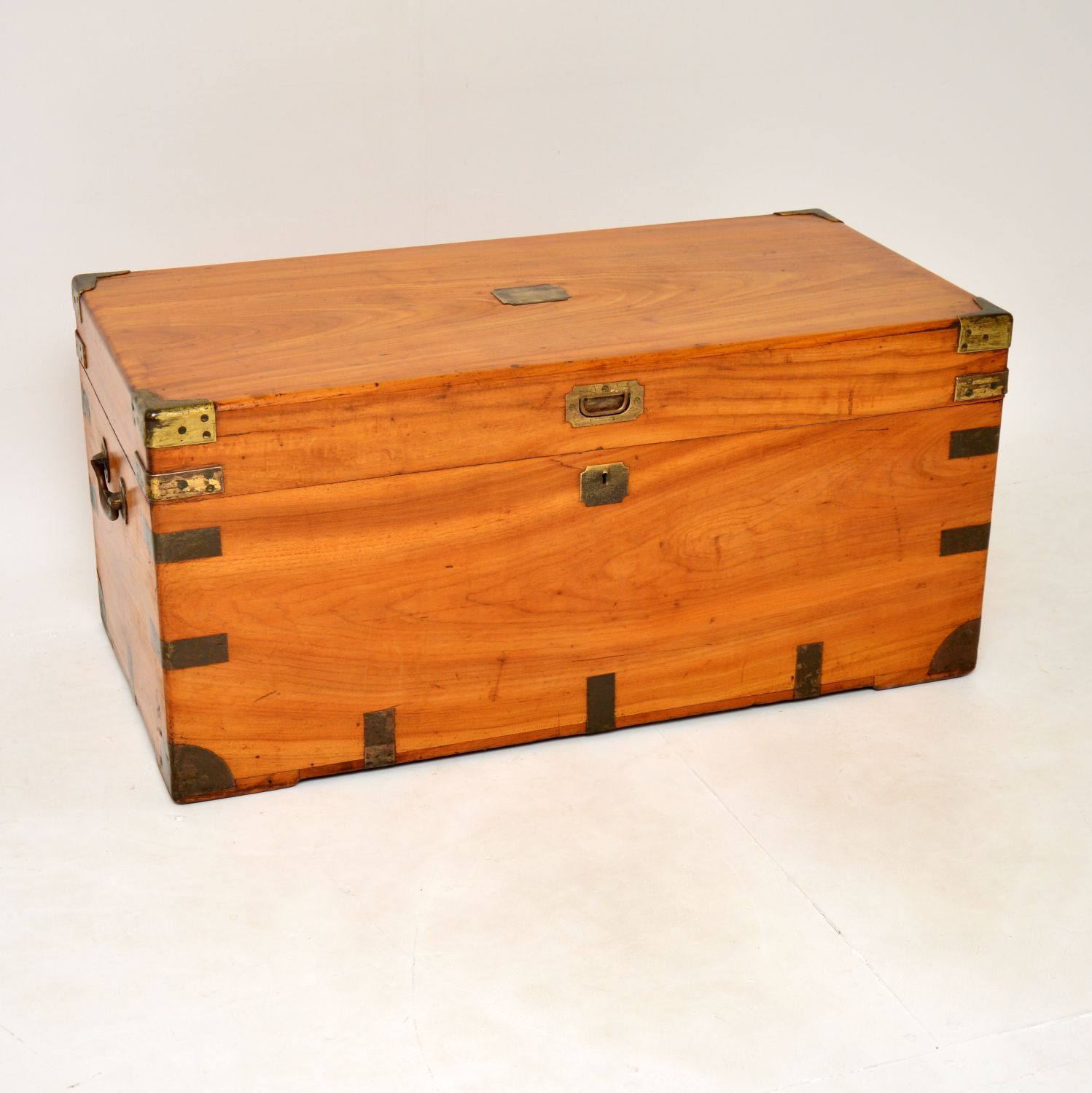 antique camphor wood military trunk chest