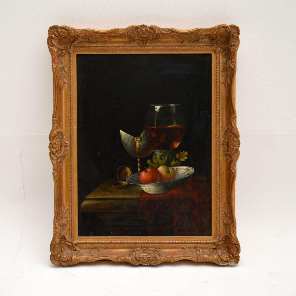 Antique Still Life Oil on Board Painting by F.V Knapp