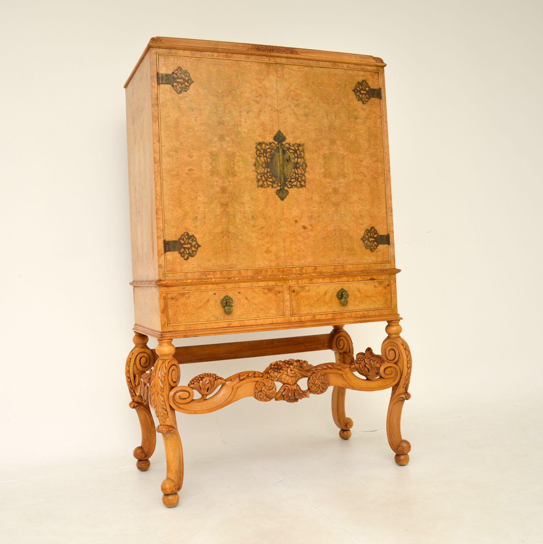 antique burr walnut queen anne cocktail drinks cabinet
