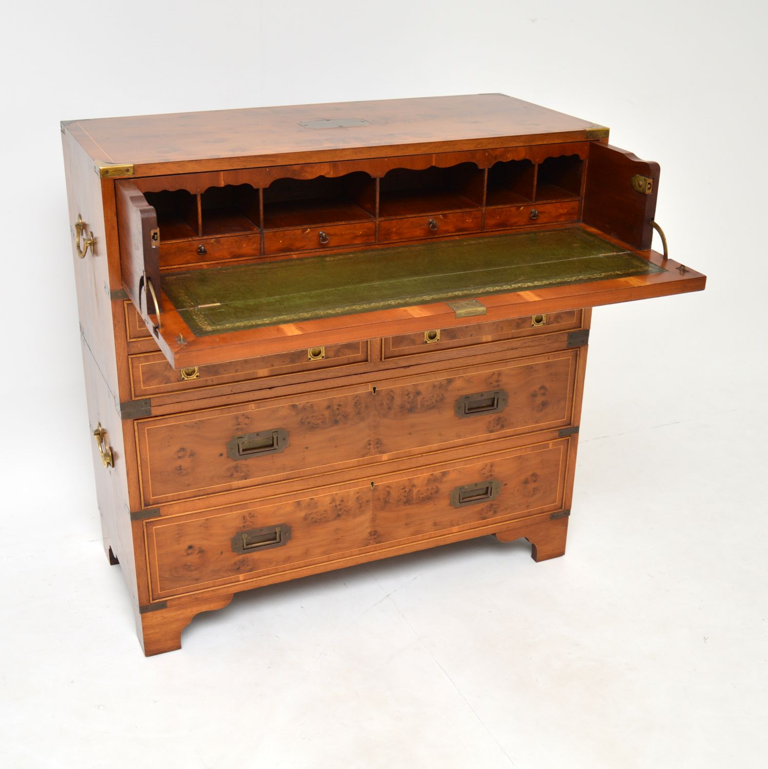 antique yew wood military campaign chest of drawers secretaire bureau