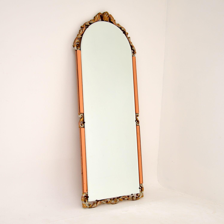art deco antique peach clear glass mirror