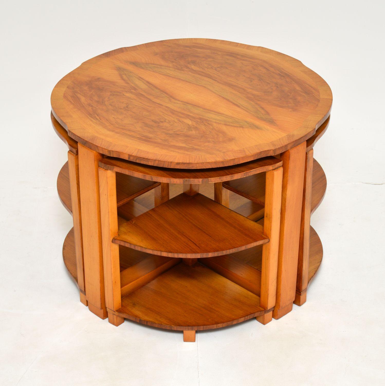 art deco antique vintage walnut nesting coffee table