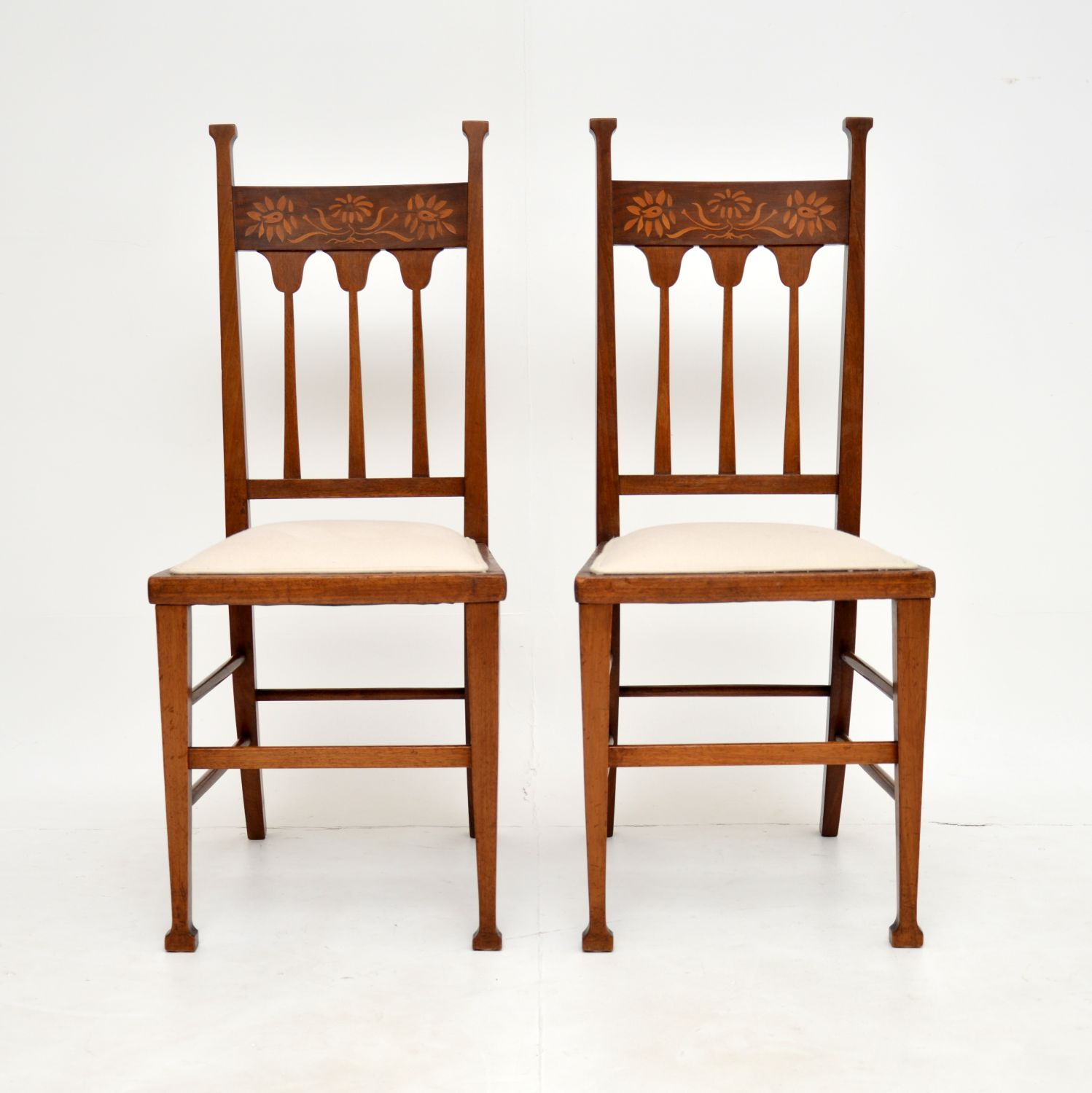 pair of antique edwardian inlaid mahogany arts and crafts side chairs
