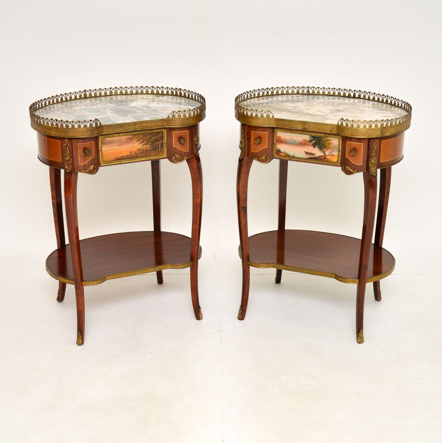 pair of antique french marble top kidney side lamp tables