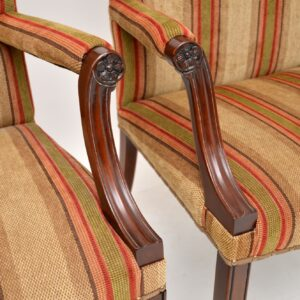 pair of antique mahogany gainsborough armchairs