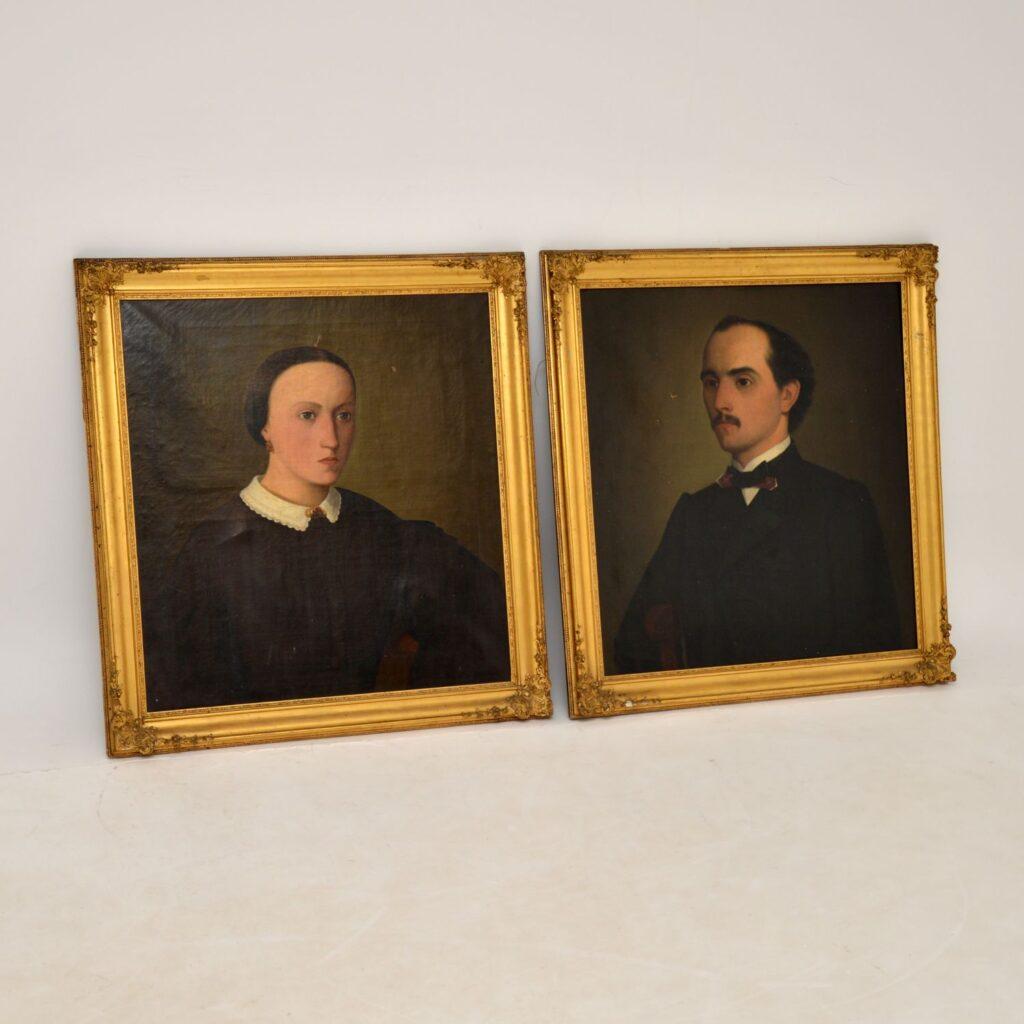 Pair of Antique Portrait Oil Paintings