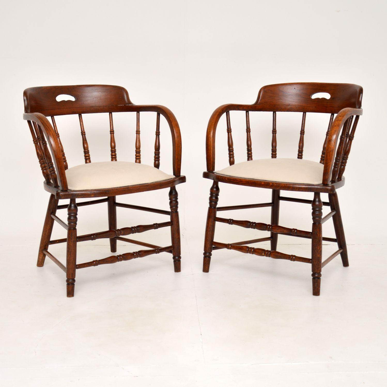pair of antique victorian solid elm oak captains chairs armchairs