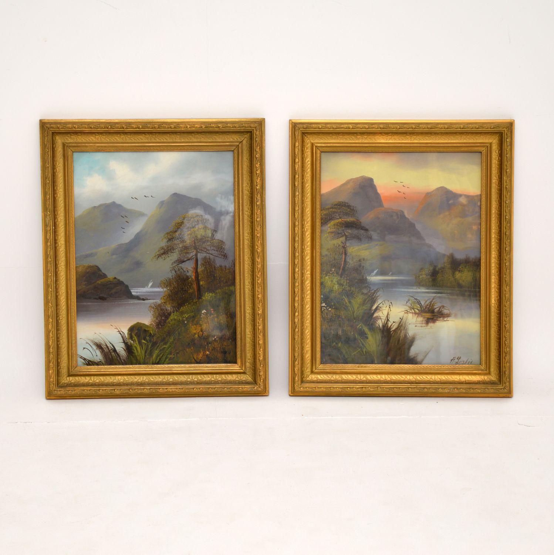 pair of antique victorian landscape oil paintings scottish highlands h. leslie