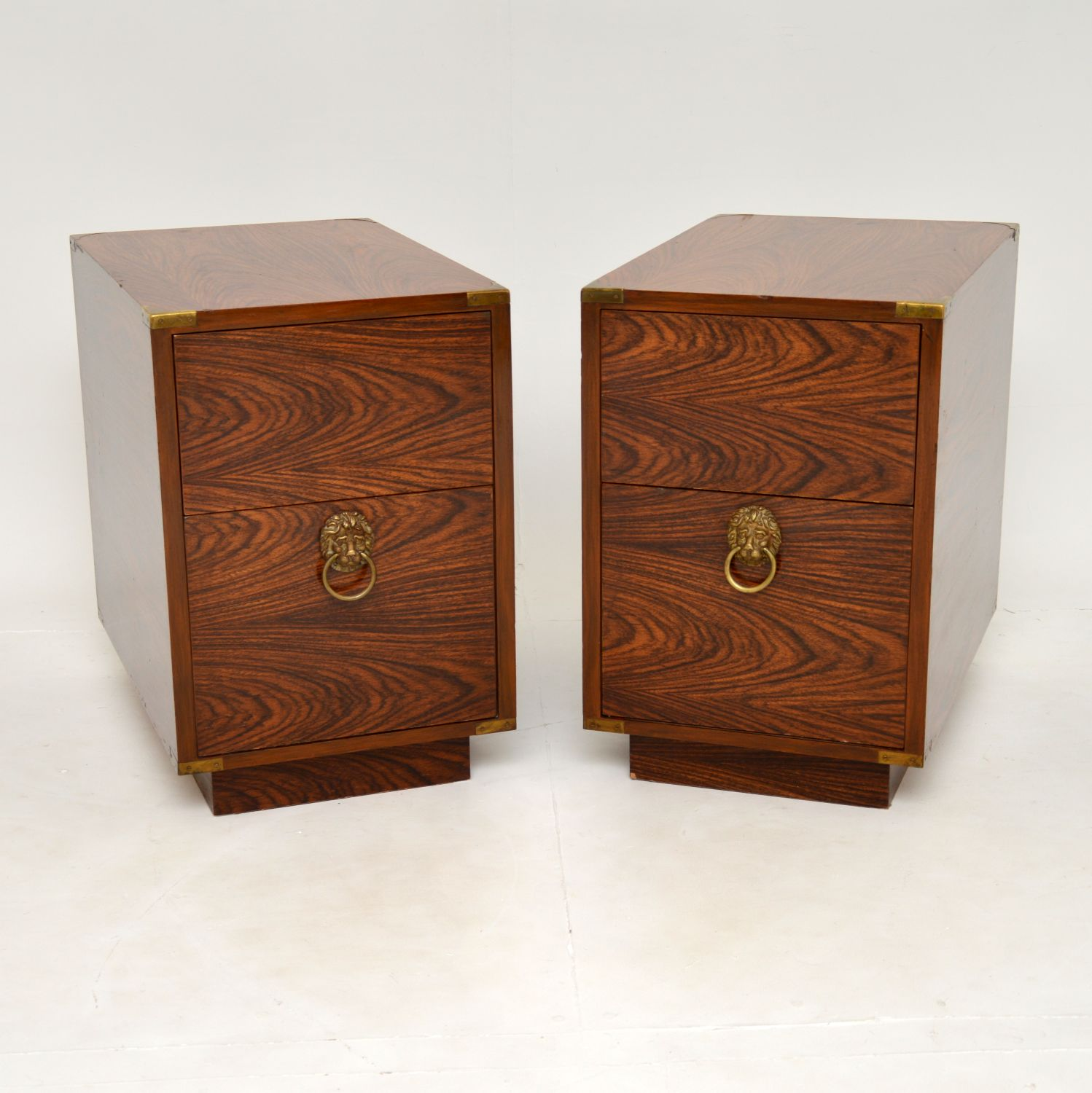 pair of antique rosewood brass bedisde side chests cabinets tables